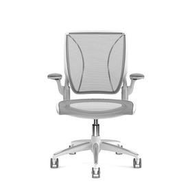 Pinstripe Mesh Gray World Task Chair, Fixed Arms, White Frame
